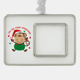 My First Christmas Santa Monkey Silver Plated Framed Ornament