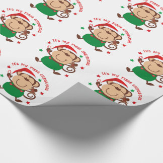 My First Christmas Santa Monkey Wrapping Paper