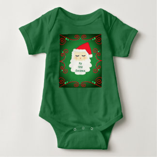 My first Christmas Santa one piece. Baby. Baby Bodysuit