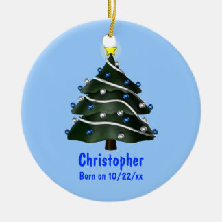 """""""My First Christmas"""" (Tree w/ Blue & Silver Orname Christmas Ornament"""