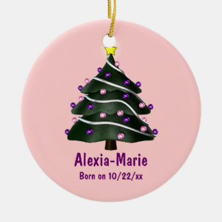 """""""My First Christmas"""" (Tree w/ Pink & Purple Orname Christmas Ornament"""
