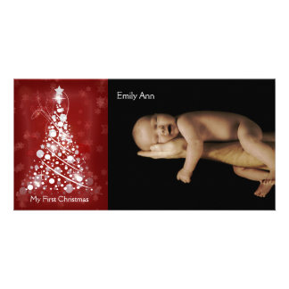 My First Christmas Whimsical Red Christmas Tree Personalised Photo Card