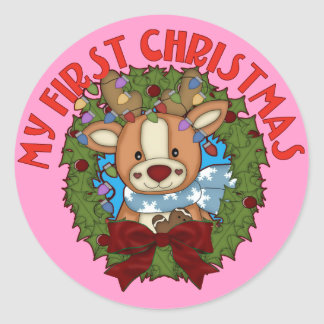 My First Christmas with Baby Reindeer Round Sticker