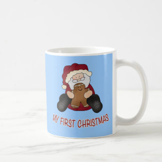 My First Christmas with Gingerbread and Santa Basic White Mug