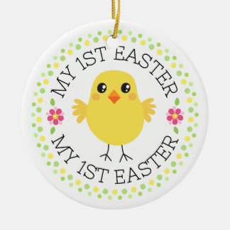 My first Easter cute chicken dot border Round Ceramic Decoration