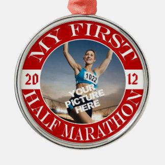 My First Half Marathon - Customizable Photo & Year Christmas Ornament