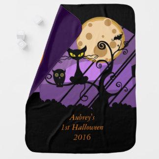My first Halloween 2016 owl bat cat kitty pumpkin Swaddle Blankets