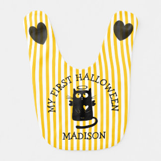 My First Halloween Angel Cat Black Hearts Bib