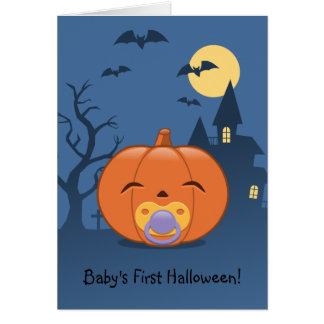 My First Halloween Pacifier Pumpkin Card