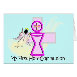 My First Holy Communion Chalice and Angel Greeting Card