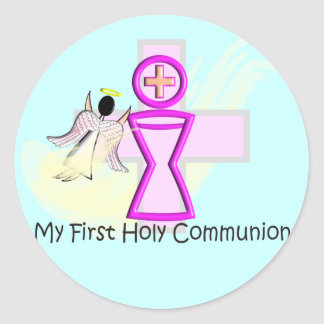 My First Holy Communion Chalice and Angel Round Sticker