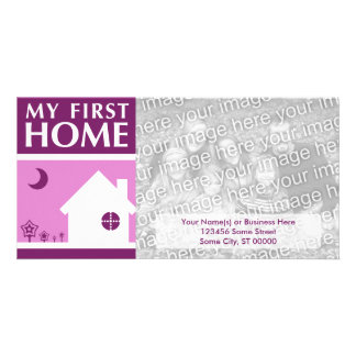 my first home (mod mauve) personalised photo card