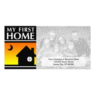my first home (mod sunrise) personalized photo card
