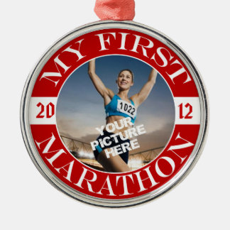 My First Marathon - Customizable Photo and Year Christmas Ornament