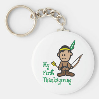 MY FIRST THANKSGIVING BASIC ROUND BUTTON KEY RING