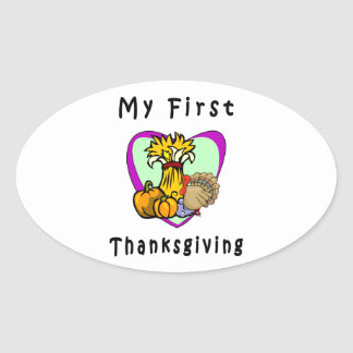 My First Thanksgiving Oval Stickers