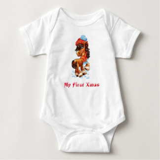 My First Xmas Baby Horse Baby Bodysuit