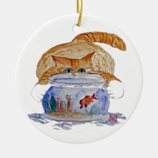 My Fishbowl, Meows Tiger Kitten Christmas Ornament