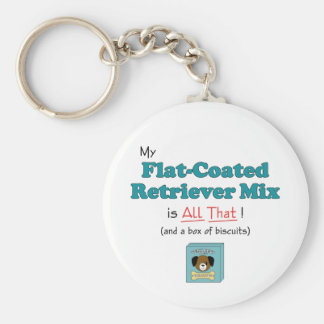 My Flat-Coated Retriever Mix is All That! Basic Round Button Key Ring