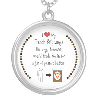 My French Brittany Loves Peanut Butter Round Pendant Necklace