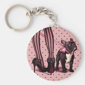 My French Bulldog Basic Round Button Key Ring