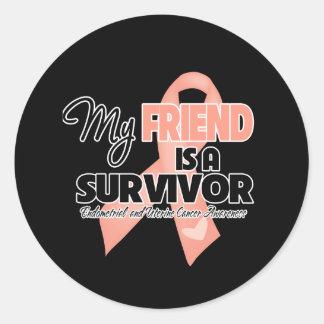 My Friend is a Survivor - Uterine Cancer Round Sticker