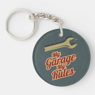 My Garage My Rules Double-Sided Round Acrylic Key Ring