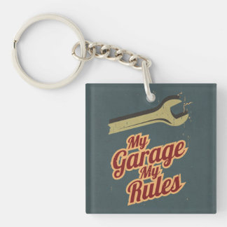 My Garage My Rules Double-Sided Square Acrylic Key Ring