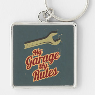My Garage My Rules Silver-Colored Square Key Ring