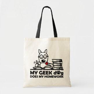 My geek dog does my homework budget tote bag