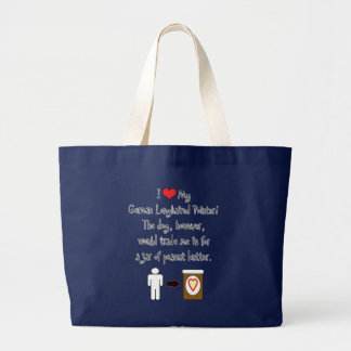 My German Longhaired Pointer Loves Peanut Butter Jumbo Tote Bag