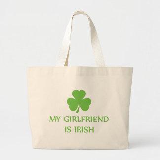 my girlfriend is irish jumbo tote bag