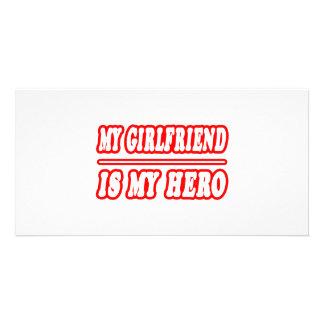 My Girlfriend Is My Hero Personalized Photo Card
