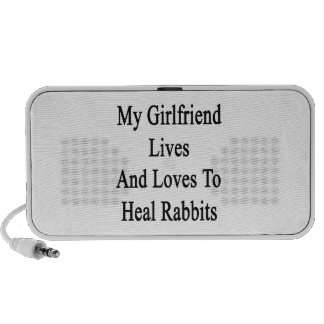 My Girlfriend Lives And Loves To Heal Rabbits Laptop Speaker