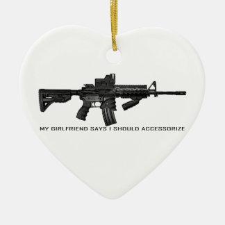 My Girlfriend Says I Should Accessorize AR15 Christmas Ornament
