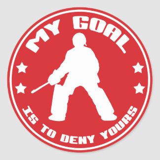 My Goal Is To Deny Yours, Field Hockey Round Sticker