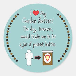 My Gordon Setter Loves Peanut Butter Round Sticker