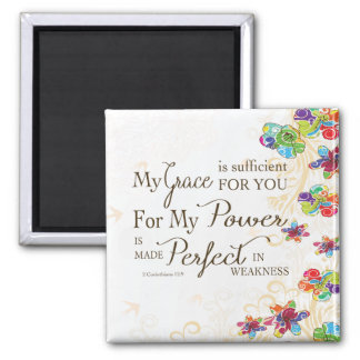 My Grace is Sufficient Square Magnet