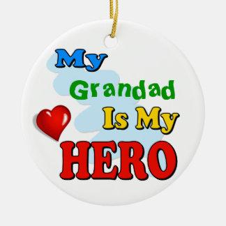 My Grandad Is My Hero – Insert your own name Round Ceramic Decoration