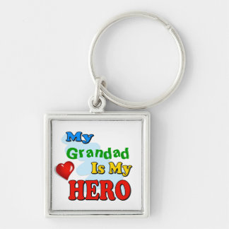 My Grandad Is My Hero – Insert your own name Silver-Colored Square Key Ring