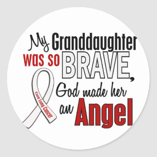 My Granddaughter Is An Angel Lung Cancer Classic Round Sticker