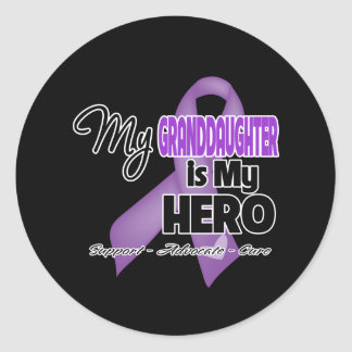 My Granddaughter is My Hero - Purple Ribbon Sticker