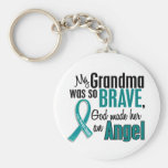 My Grandma Is An Angel 1 Ovarian Cancer Basic Round Button Key Ring