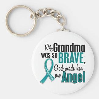 My Grandma Is An Angel 1 Ovarian Cancer Basic Round Button Key Ring