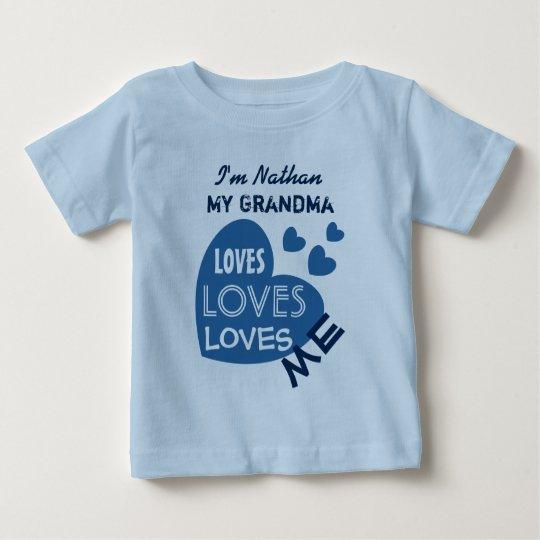 My GRANDMA Loves Me Blue Hearts Custom Text
