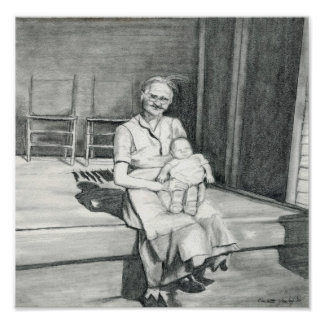 """""""My Grandma"""" Pencil Drawing by Charlotte Yealey Poster"""