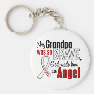 My Grandpa Is An Angel Lung Cancer Basic Round Button Key Ring