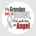 My Grandpa Is An Angel Lung Cancer Round Stickers