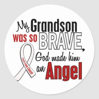 My Grandson Is An Angel Lung Cancer Round Stickers