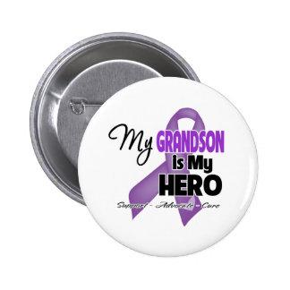 My Grandson is My Hero - Purple Ribbon Button
